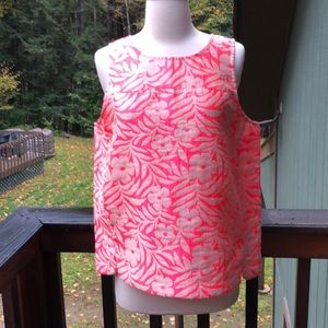 J. Crew Size 12 Pink & Beige Floral Shell Top